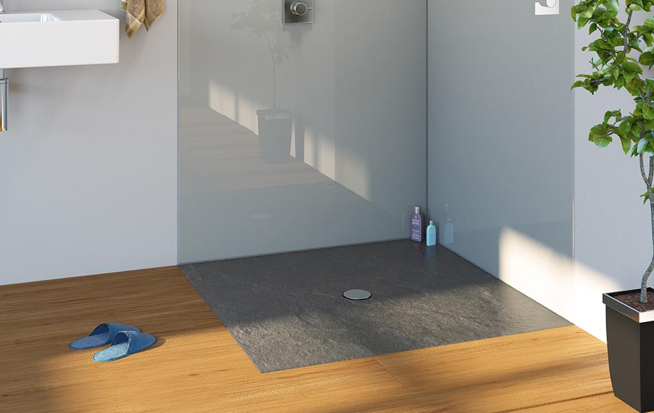 Minima Shower Tray in Graphite Granite Finish