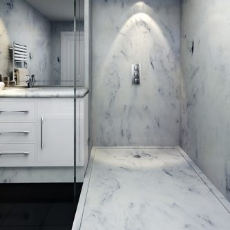Shower Tray, Wall Panels and Vanity Top in Sicilian Marble Finish