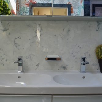 Splash Back in Silver Stratos Metallic Marble Finish
