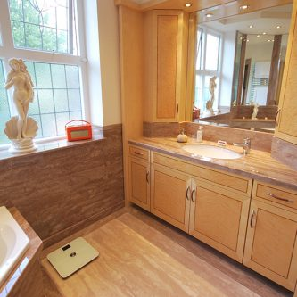 Vanity Top Wall Panels and Floor Slabs in Sandstone Granite Finish