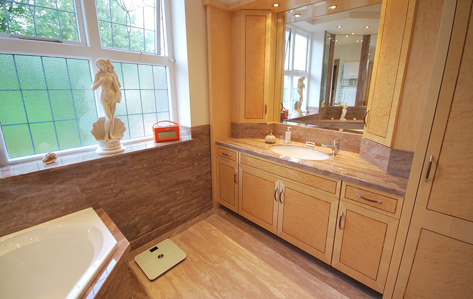 Vanity Top Wall Panels and Floor Slabs in Sandstone Granite Finish (1)