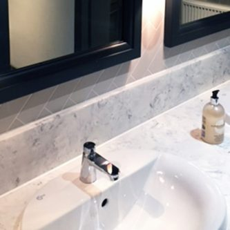 Vanity Top and Splash Back in Arabesque Marble Finish