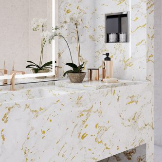 Vanity Top and Wall Panels in Gold Stratos Metallic Marble Finish