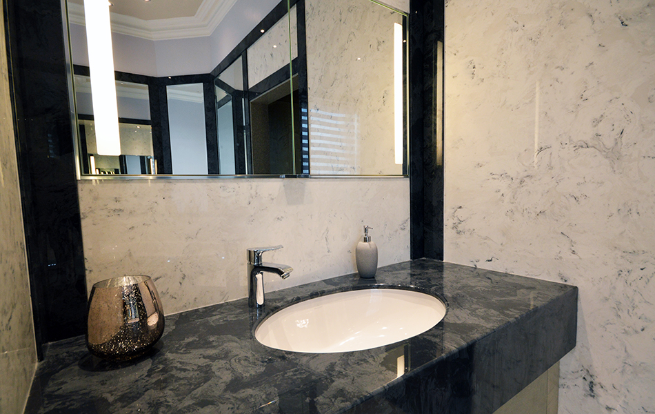 Wall Panels in Arabesque Marble Finish and Vanity Top and Decorative Panels in Glouchester Marble Finish (1)