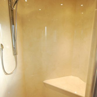 Wall and Shower Panels and shower Tray in Bone Marble Finish