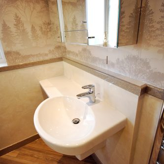 Wall and Shower Panels in Bone Marble Finish