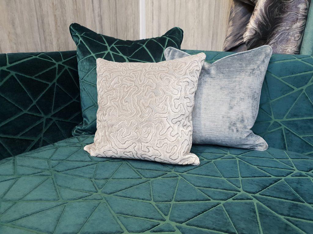 navy blue geometric sofa