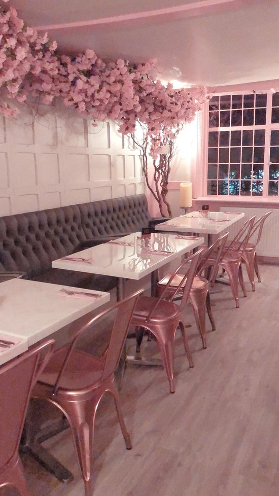 pink interior with blush table tops from versital