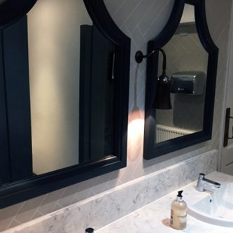 Vanity Top and Splash Back in 'Arabesque' Marble Finish with Basins