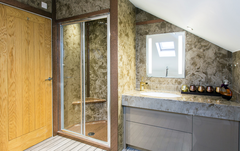 bathroom-design-with-a-shower-enclosure-and-a-matching-vanity-top-in-coffee-and-cream-with-complimenting-sparkly-panles-from-versital
