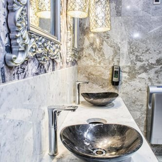 Vanity Top and Splash Back in Arabesque Marble Finish with Top Mounted Basins