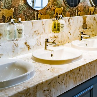 Vanity Tops in Caramel from 'Inspired by Pantone' Marble Range with a Splash Back
