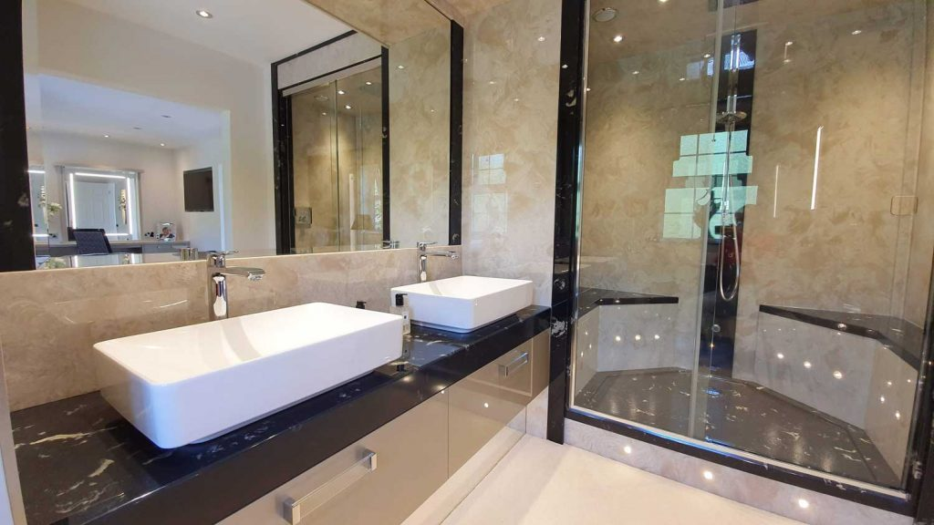 Luxury bathroom with bespoke shower tray