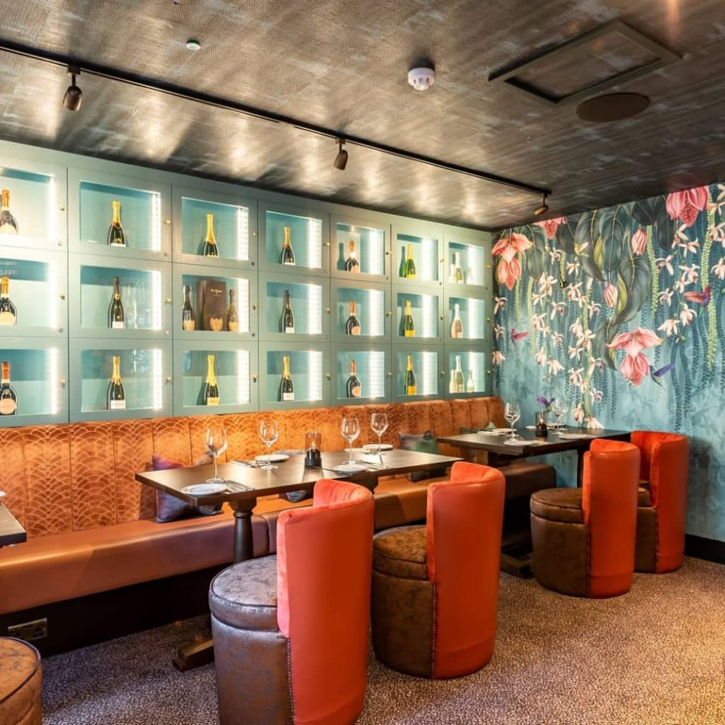 Funky and exciting wallpaper and decor for this hospitality design